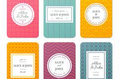 6款彩色婚礼邀请卡片矢量素材