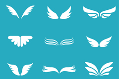 12款白色翅膀设计矢量素材