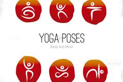 6款瑜伽姿势标志矢量素材