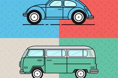 2款卡通复古车辆设计矢量素材
