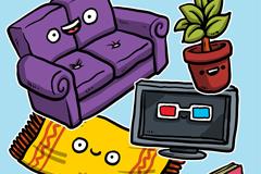6款卡通大眼睛家具矢量图
