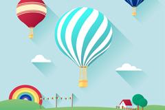 精致热气球插画矢量素材