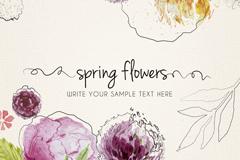 水彩春季花卉矢量素材