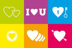 9款白色爱心元素图标矢量素材