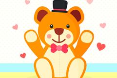 卡通泰迪熊与爱心矢量素材