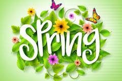 春季花卉艺术字矢量素材
