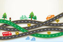 创意公路旅游剪贴画矢量图