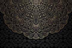 精致黑色花纹背景矢量素材