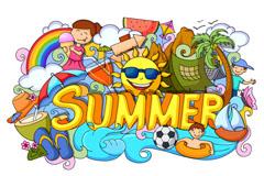 创意SUMMER夏日度假插画矢量图