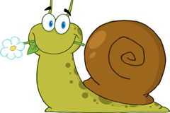 卡通叼花的蜗牛矢量素材
