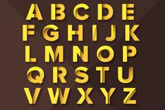 62个金色纸质字母与数字矢量素材