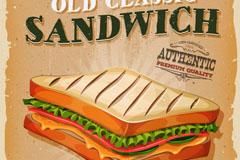 复古三明治海报矢量素材