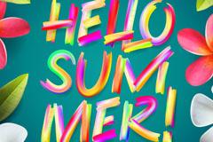 你好夏季HELLO SUMMER艺术字矢量素材