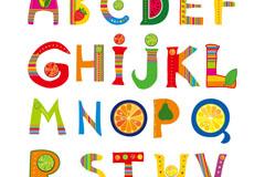 26个创意水果字母矢量图