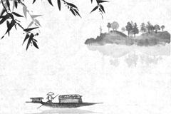 江上的小舟水墨画矢量素材