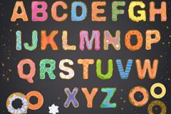 26个饼干大写字母设计矢量素材