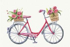 水彩绘装满花的自行车矢量素材