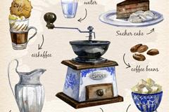 7款水彩绘维也纳咖啡元素乐虎娱乐