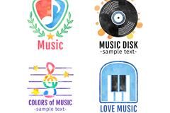 4款创意音乐元素图标矢量素材