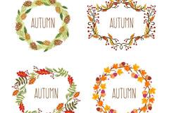 4款秋季树叶花环矢量素材