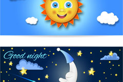 卡通太阳与月亮banner矢量素材