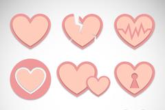 8款淡粉色爱心设计矢量素材
