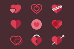 12款扁平化爱心图标矢量素材