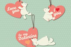 3款情人节白熊爱心挂牌矢量素材