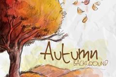 水彩秋季树木和落叶矢量素材