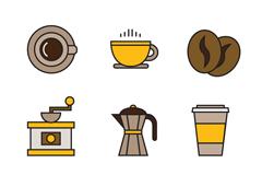 9款咖啡元素图标设计矢量素材
