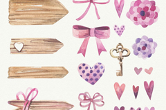 21款水彩蝴蝶结和木牌装饰元素矢量素材