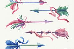 6款水彩绘羽毛箭设计矢量图