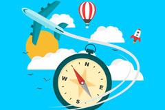 创意天空中的飞行交通工具矢量图