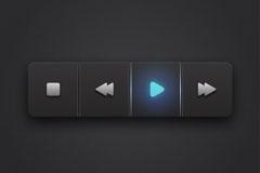 黑色质感播放器按钮矢量素材