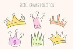 9款卡通彩绘王冠设计矢量素材