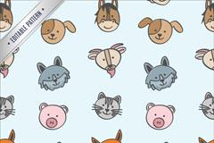 10种卡通动物头像无缝背景矢量素