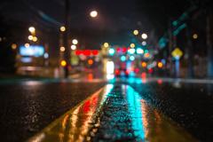 雨后夜晚的街道图片
