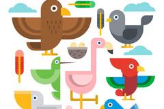 7款扁平创意鸟类设计矢量素材