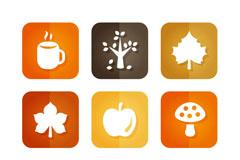 9款方形秋季元素图标矢量素材