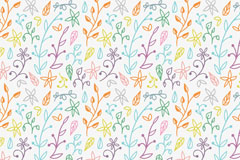 彩色简笔花朵无缝背景设计矢量图