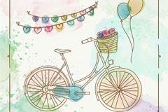 彩绘单车和气球车矢量素材