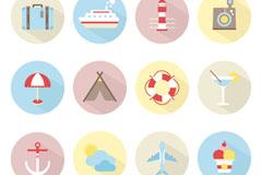12款圆形旅行图标矢量素材