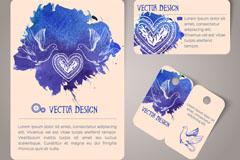 3款蓝色水彩鸽子卡片矢量素材