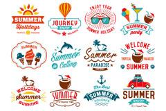 16款彩色夏日度假标签元素矢量图