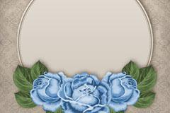 蓝色玫瑰装饰和花纹背景矢量素材