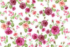 彩色玫瑰花无缝背景矢量素材