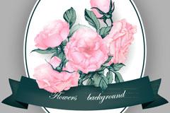 粉色玫瑰花束和丝带卡片矢量图