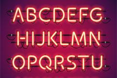 28个红色霓虹灯字母和符号矢量图