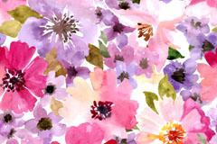 水彩花卉无缝背景矢量素材