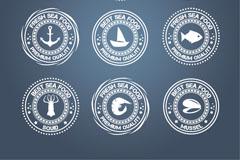 9款创意海鲜食品标签矢量素材